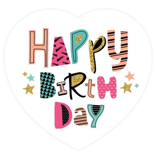 Cake Top Tortenbild Herz 20x19 cm HAPPY BIRTHDAY