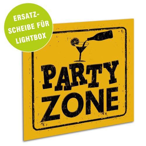 Acrylglasscheibe für Lightbox PARTY ZONE 25x25 cm