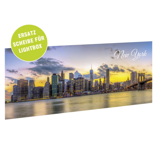Acrylglasscheibe für Lightbox NEW YORK 35x15 cm