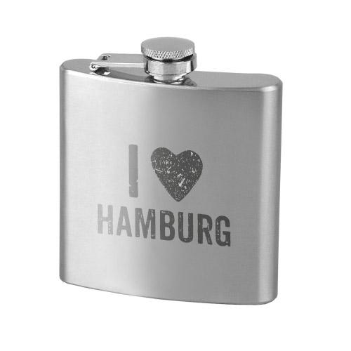 Flachmann Edelstahl  I LOVE HAMBURG