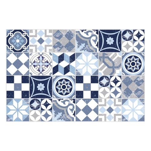 Vinyl Teppich MATTEO 40x60 cm Mosaik Blau