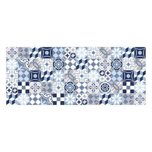 Vinyl Teppich MATTEO 50x120 cm Mosaik Blau