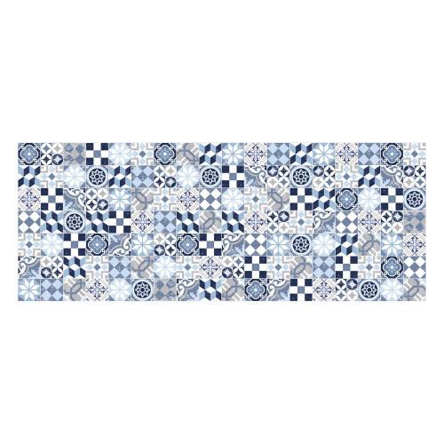Vinyl Teppich MATTEO 70x180 cm Mosaik Blau