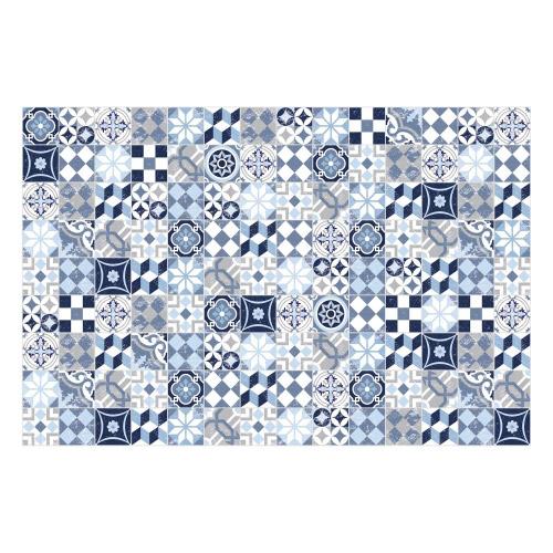 Vinyl Teppich MATTEO 90x135 cm Mosaik Blau