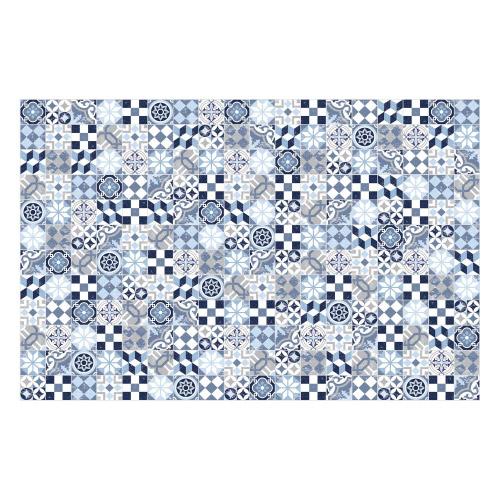 Vinyl Teppich MATTEO 118x180 cm Mosaik Blau