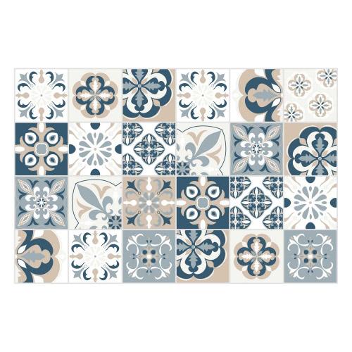 Vinyl Teppich MATTEO 40x60 cm Mosaik Blau-Beige