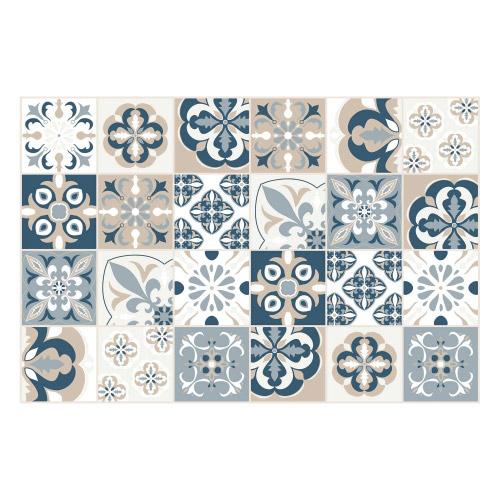 Vinyl Teppich MATTEO 60x90 cm Mosaik Blau-Beige