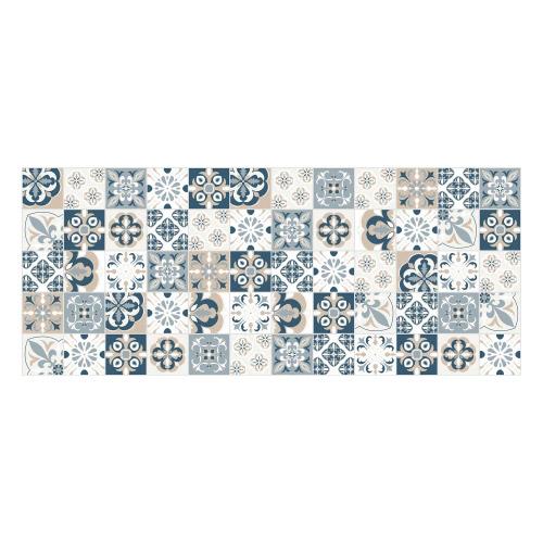 Vinyl Teppich MATTEO 50x120 cm Mosaik Blau-Beige