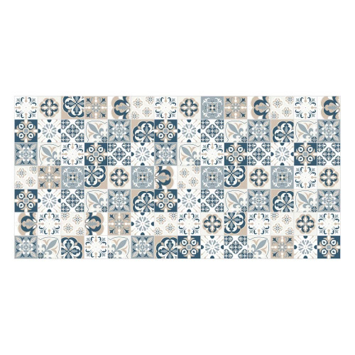 Vinyl Teppich MATTEO 70x140 cm Mosaik Blau-Beige
