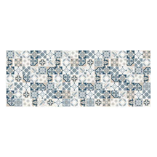 Vinyl Teppich MATTEO 70x180 cm Mosaik Blau-Beige