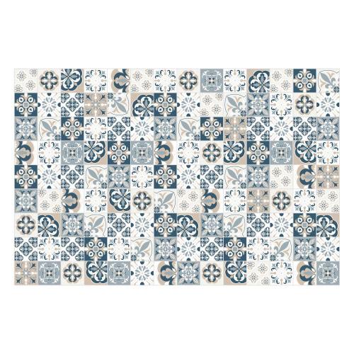 Vinyl Teppich MATTEO 90x135 cm Mosaik Blau-Beige
