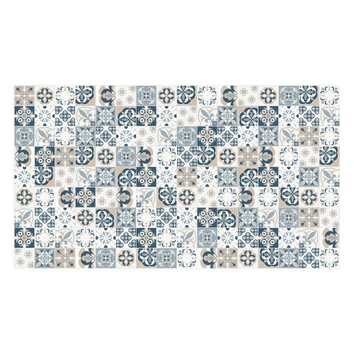 Vinyl Teppich MATTEO 90x160 cm Mosaik Blau-Beige