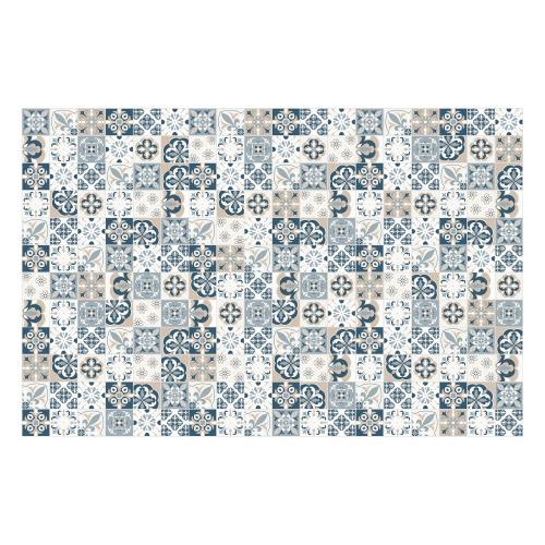 Vinyl Teppich MATTEO 118x180 cm Mosaik Blau-Beige