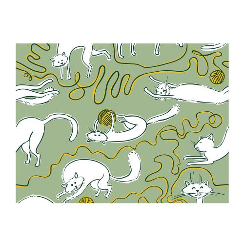 Vinyl Teppich MATTEO 40x60 cm Katzen & Wolle