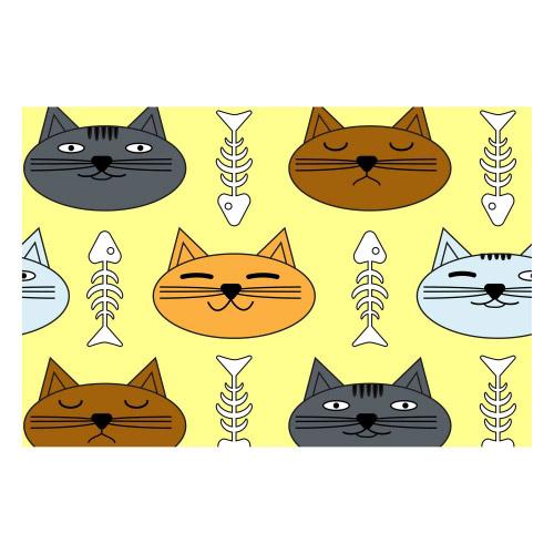 Vinyl Teppich MATTEO 40x60 cm Katzen & Fischgräten