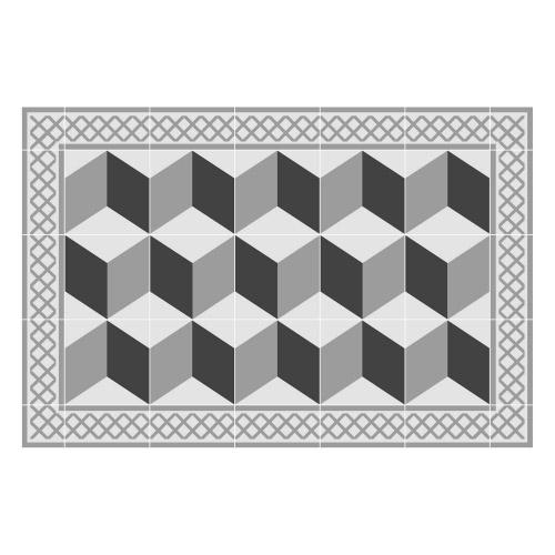 Vinyl Teppich MATTEO 40x60 cm Fliesen 3 Grau