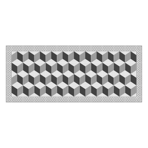 Vinyl Teppich MATTEO 70x140 cm Fliesen 3 Grau