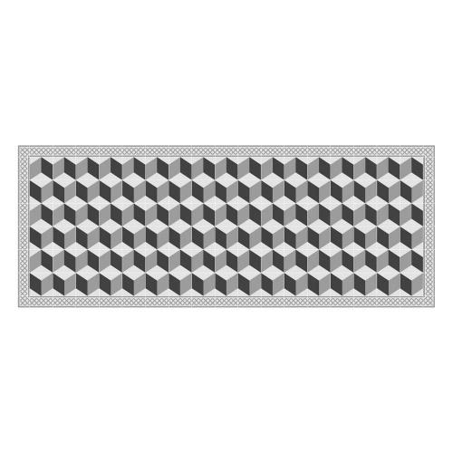 Vinyl Teppich MATTEO 70x180 cm Fliesen 3 Grau