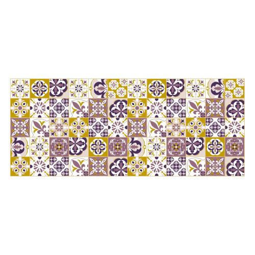 Vinyl Teppich MATTEO 50x120 cm Mosaik Lila-Ocker