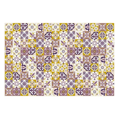 Vinyl Teppich MATTEO 90x135 cm Mosaik Lila-Ocker
