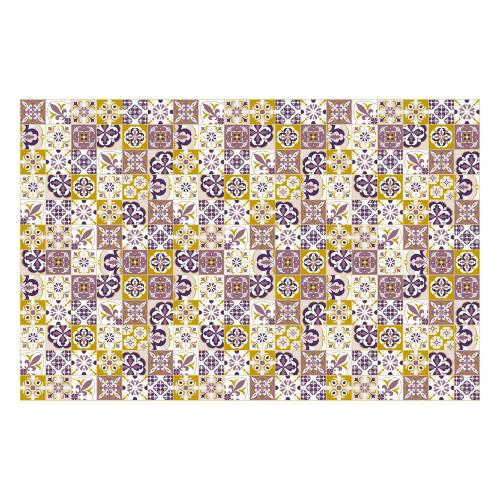Vinyl Teppich MATTEO 118x180 cm Mosaik Lila-Ocker