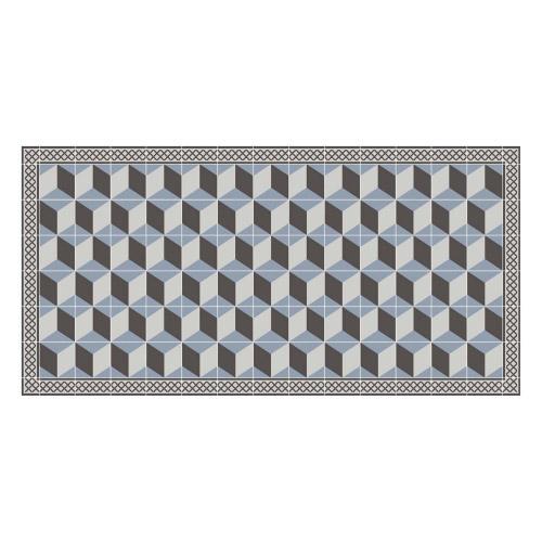 Vinyl Teppich MATTEO 70x140 cm Fliesen 3 Blau
