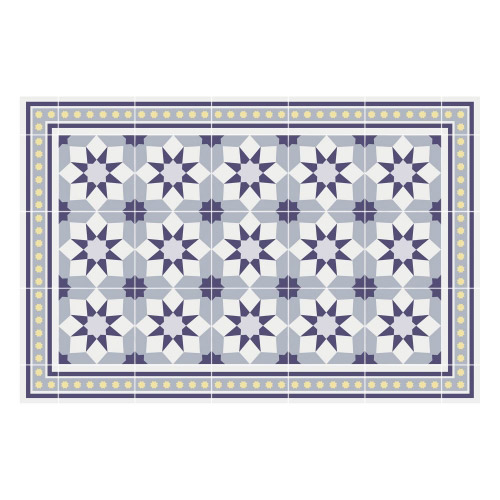 Vinyl Teppich MATTEO 60x90 cm Fliesen 6 Blau