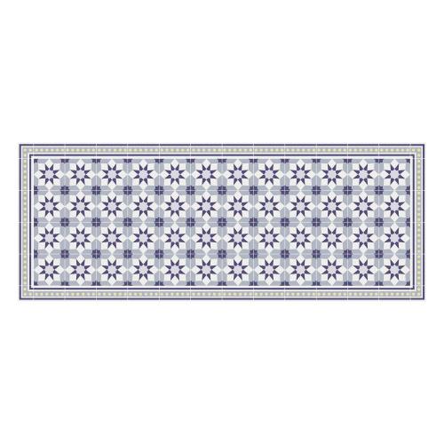 Vinyl Teppich MATTEO 70x180 cm Fliesen 6 Blau
