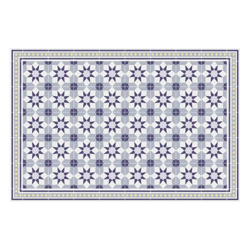 Vinyl Teppich MATTEO 90x135 cm Fliesen 6 Blau
