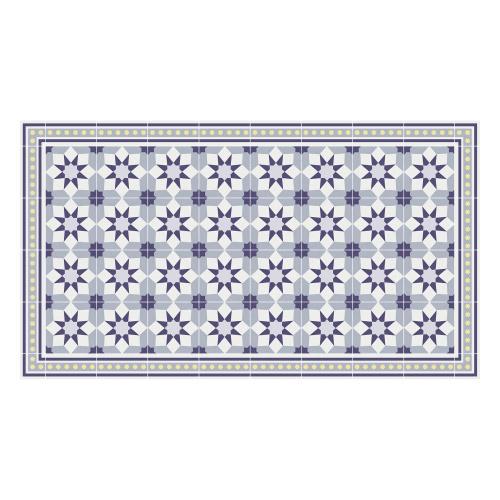 Vinyl Teppich MATTEO 90x160 cm Fliesen 6 Blau