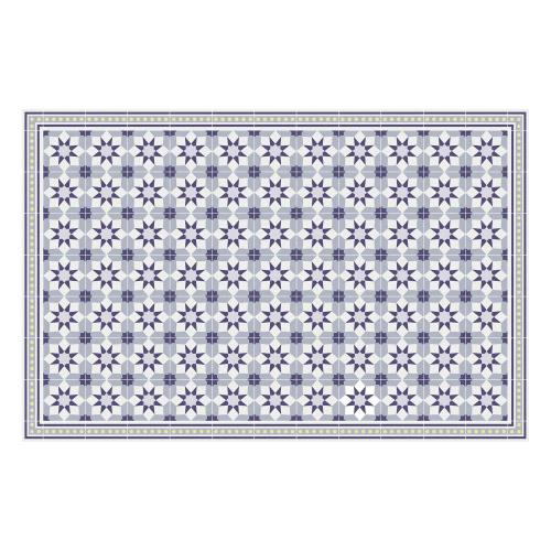 Vinyl Teppich MATTEO 118x180 cm Fliesen 6 Blau