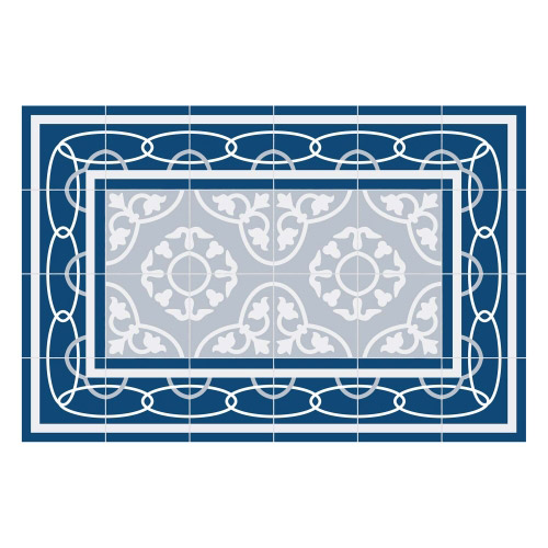 Vinyl Teppich MATTEO 40x60 cm Fliesen 8 Blau
