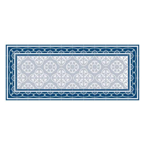 Vinyl Teppich MATTEO 50x120 cm Fliesen 8 Blau