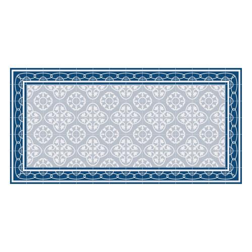Vinyl Teppich MATTEO 70x140 cm Fliesen 8 Blau