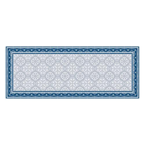 Vinyl Teppich MATTEO 70x180 cm Fliesen 8 Blau