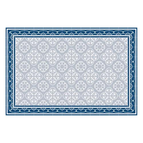 Vinyl Teppich MATTEO 90x135 cm Fliesen 8 Blau