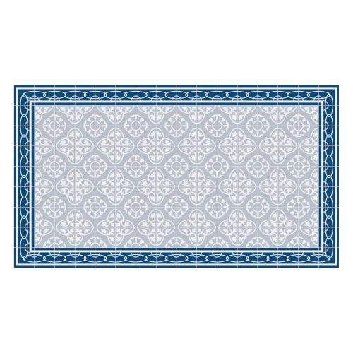 Vinyl Teppich MATTEO 90x160 cm Fliesen 8 Blau