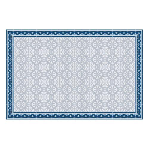 Vinyl Teppich MATTEO 118x180 cm Fliesen 8 Blau