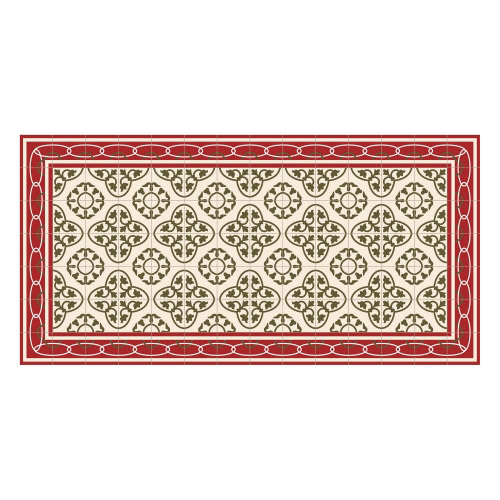 Vinyl Teppich MATTEO 70x140 cm Fliesen 8 Rot