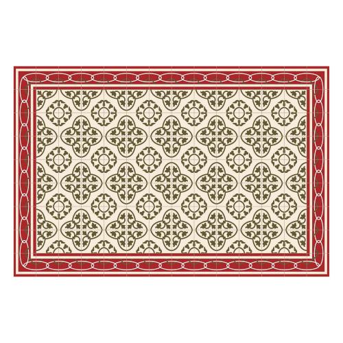 Vinyl Teppich MATTEO 90x135 cm Fliesen 8 Rot