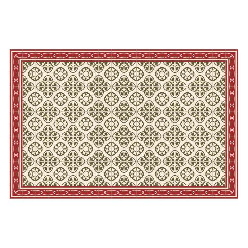 Vinyl Teppich MATTEO 118x180 cm Fliesen 8 Rot