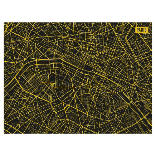 Tischset Vinyl Paris City Map Gelb