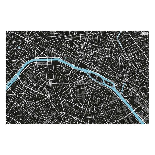 Vinyl Teppich MATTEO 118x180 cm Paris City Map S/W