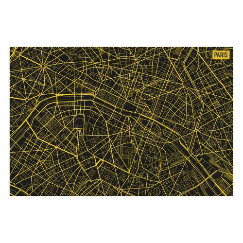 Vinyl Teppich MATTEO 40x60 cm Paris City Map Gelb