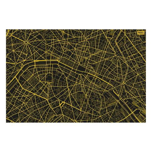 Vinyl Teppich MATTEO 90x135 cm Paris City Map Gelb