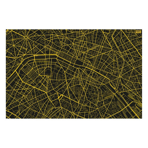 Vinyl Teppich MATTEO 118x180 cm Paris City Map Gelb