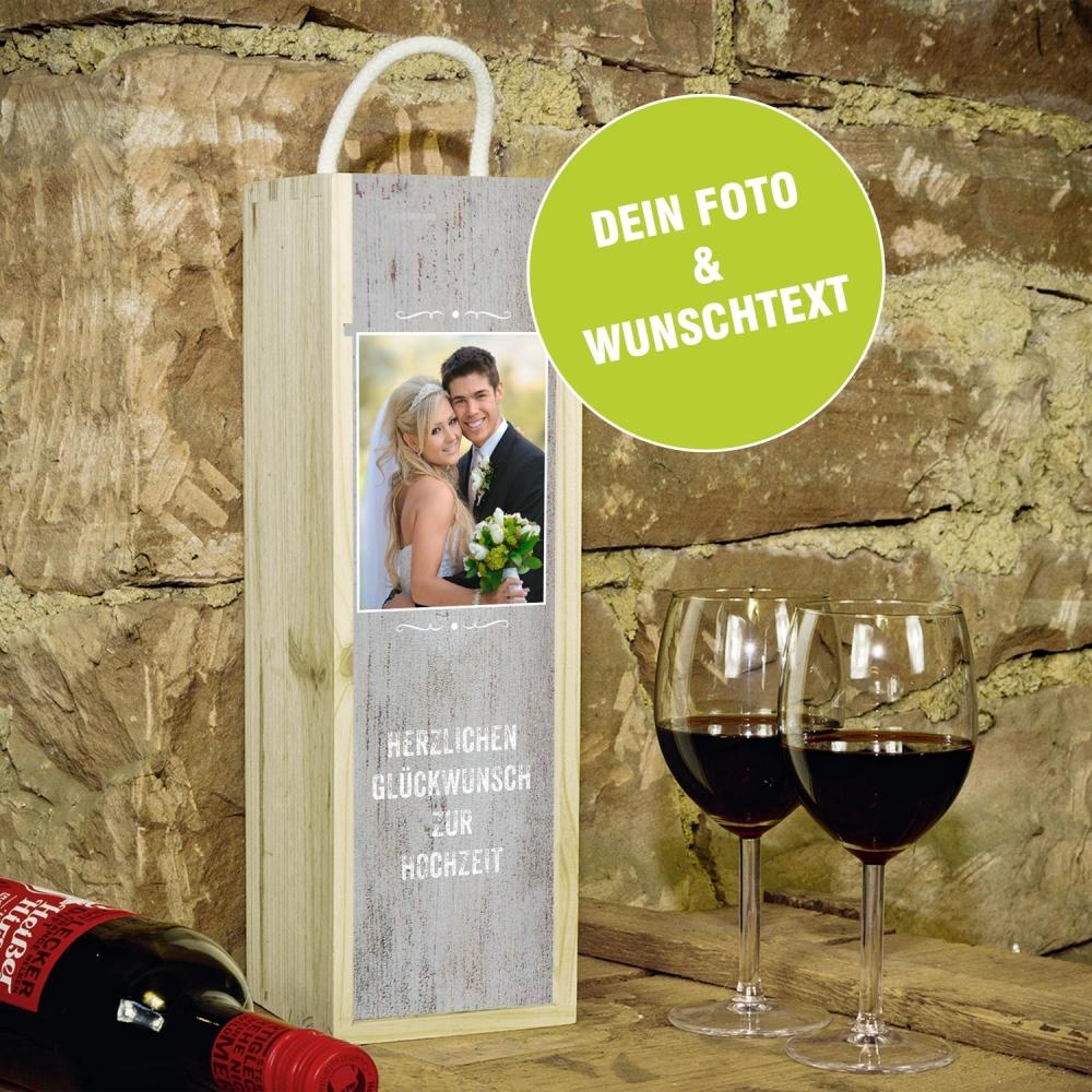 Personalisierte Weinbox Holz Mit Foto Und Wunschtext Contento
