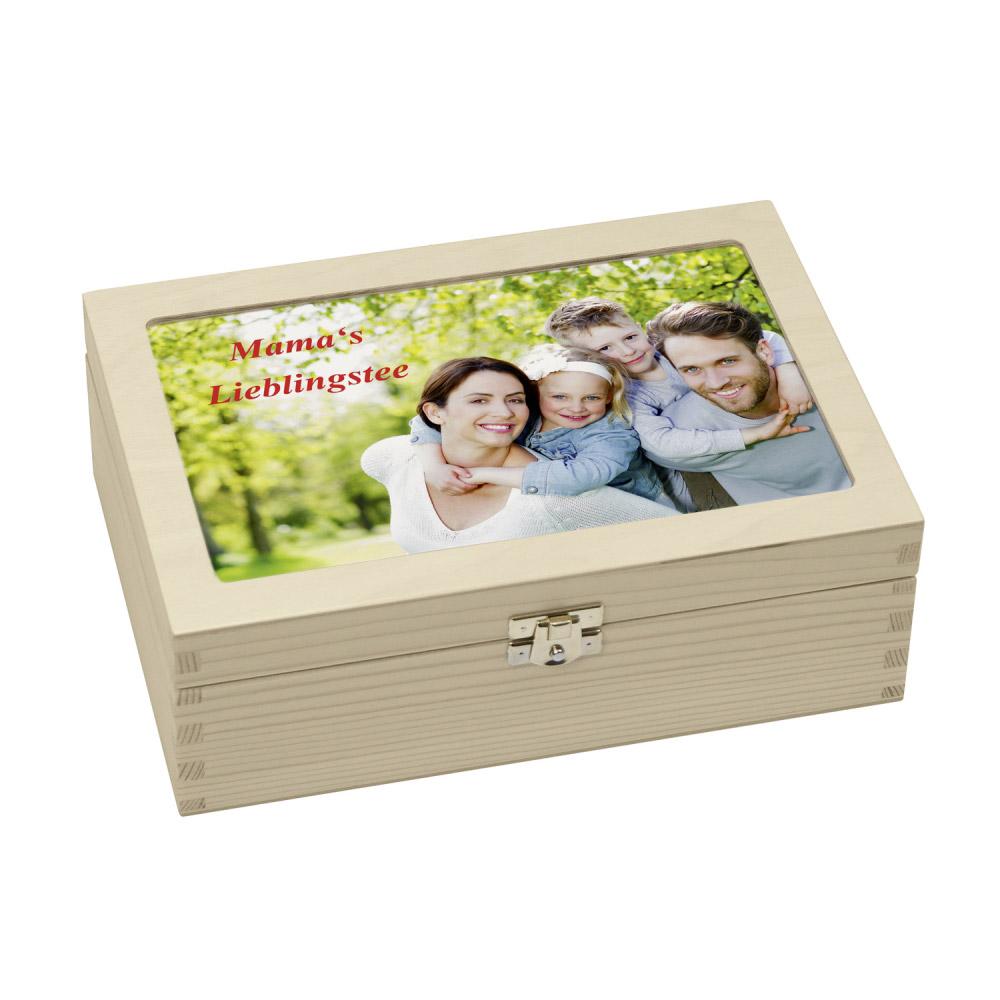 Teebox Aus Holz Mit Persönlichem Foto Oder Wunschtext