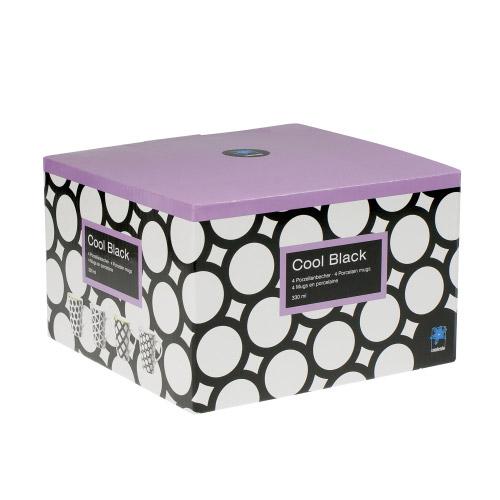 porzellanbecher cool black schwarz wei 4er set contento. Black Bedroom Furniture Sets. Home Design Ideas
