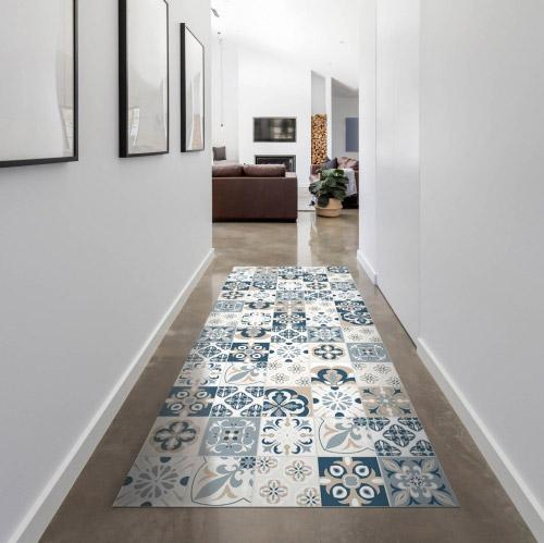 matteo bodenmatte vinyl bedruckt 70x180 cm mosaik blau beige contento. Black Bedroom Furniture Sets. Home Design Ideas